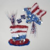 72 Units of Tinsel Decor Patriotic 2asst Star 12x12/hat 11x10.75in/ht