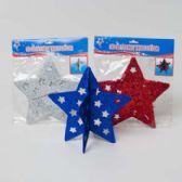 90 Units of Star Patriotic 3d Table Decor Glittered 2pc Paperboard 3ast Red/white/blue Pbh - 4th Of July