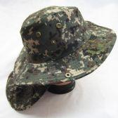 24 Units of Mens Mesh Boonie / Hiking Hat in DIGITAL GREEN - Bucket Hats