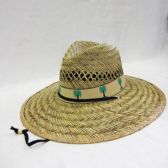 24 Units of Adult Straw Hat With Palm Tree Trim - Bucket Hats