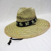 24 Units of Men's Straw Hat With Turtle Trim - Bucket Hats
