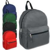 "24 Units of 15 INCH BASIC BACKPACK - 5 COLOR - Backpacks 15"" or Less"