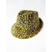 36 Units of Cheetah Print Fedora Hat - Fedora Hat/Driver Cap/ Ivy Cap/Visor