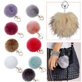 144 Units of FAUX FUR ZIPPER PULL KEYCHAINS.