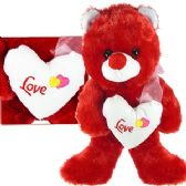 """24 Units of PLUSH RED BEARS W/ """"LOVE"""" HEART."""