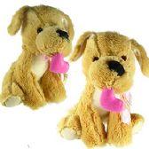 24 Units of PLUSH TAN DOGS W/ PINK HEART.