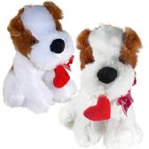 24 Units of PLUSH ST BERNARD DOGS W/ HEART.