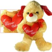 """24 Units of PLUSH BROWN DOGS W/ """"I LOVE YOU"""" HEART."""