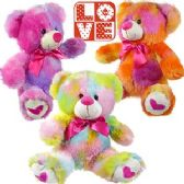 24 Units of PLUSH TIE DYED BEARS W/ HEART PAWS.