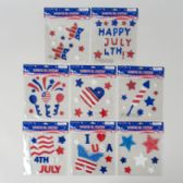 72 Units of Gel Stickers Patriotic - 4th Of July