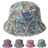 24 Units of WOMENS PAISLEY SUMMER FEDORA HAT IN ASSORTED COLORS