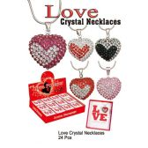 24 Units of LOVE CRYSTAL NECKLACES - Necklace