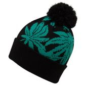 24 Units of LEAF KNIT BEANIE HATS WITH POM - Winter Beanie Hats