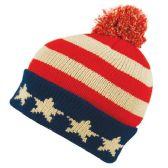 24 Units of KNITTED USA FLAG BEANIE HAT W/POM POM - Winter Beanie Hats