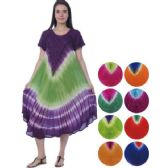 24 Units of Multicolor Tie Dye Umbrella Dresses with short sleeves - Womens Sundresses & Fashion