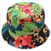 24 Units of FLORA PRINT REVERSIBLE BUCKET HATS - Bucket Hats