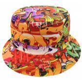 24 Units of GRAFFITI PRINT BUCKET HATS IN ORANGE - Bucket Hats