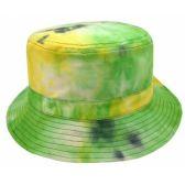 24 Units of TIE DYE PRINT REVERSIBLE BUCKET HATS IN GREEN - Bucket Hats