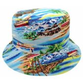 24 Units of TROPICAL PRINT REVERSIBLE BUCKET HATS IN LIGHT BLUE - Bucket Hats