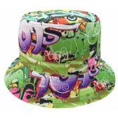 24 Units of GRAFFITI PRINT BUCKET HATS IN GOLD - Bucket Hats