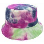 24 Units of TIE DYE PRINT REVERSIBLE BUCKET HATS IN NAVY - Bucket Hats