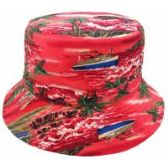 24 Units of TROPICAL PRINT REVERSIBLE BUCKET HATS IN RED - Bucket Hats