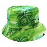 24 Units of TROPICAL PRINT REVERSIBLE BUCKET HATS IN GREEN - Bucket Hats