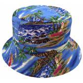 24 Units of TROPICAL PRINT REVERSIBLE BUCKET HATS IN BLUE - Bucket Hats