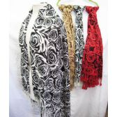 24 Units of Floral Assorted Color Scarves - Womens Fashion Scarves
