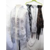 24 Units of Assorted Color Sheer Scarves - Womens Fashion Scarves