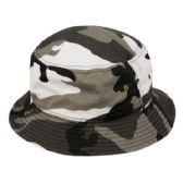 12 Units of PLAIN COTTON BUCKET HATS IN CAMO WHITE - Bucket Hats