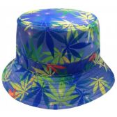 12 Units of MARIJUANA PRINT REVERSIBLE BUCKET HATS IN BLUE - Bucket Hats