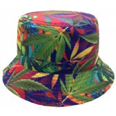 12 Units of MARIJUANA PRINT REVERSIBLE BUCKET HATS IN RAINBOW - Bucket Hats