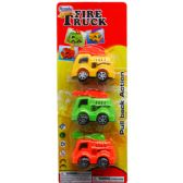 48 Units of 3 Piece Cartoon Mini Fire Truck Set