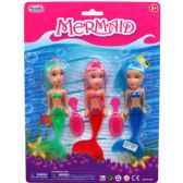 96 Units of 3 Piece Mermaid Dolls w. Hair Brush - Dolls