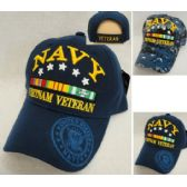 12 Units of Licensed Navy [Vietnam Veteran] *Assorted Colors - Military Caps