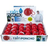 72 Units of Rain Poncho in a Ball Countertop Display - Umbrellas & Rain Gear