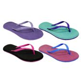 72 Units of Womans Two Tone floral Flip Flop Assorted Colors
