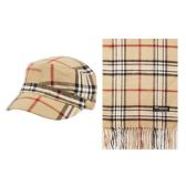 12 Units of PLAID CADET HAT AND SCARF SET - Winter Sets Scarves , Hats & Gloves