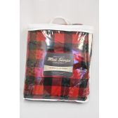 12 Units of Mink Sherpa Ultimate Blanket 50X60 Red Buffalo Plaid