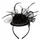 12 Units of FASCINATOR WITH FLOWER TRIM IN BLACK - Church Hats