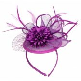 12 Units of FASCINATOR WITH FLOWER TRIM IN LAVENDER - Church Hats