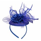 12 Units of FASCINATOR WITH FLOWER TRIM IN ROYAL - Church Hats