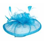 12 Units of SINAMAY FASCINATOR WITH FLOWER TRIM IN TORQUOISE - Church Hats