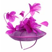 12 Units of SINAMAY FASCINATOR WITH FLOWER ON THE TOP IN LAVENDER - Church Hats
