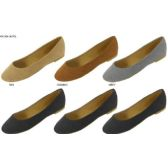 36 Units of LADIES MICROSUEDE BALLET FLATS - Womens Shoes/ Flats