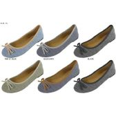 36 Units of LADIES DENIM BALLET FLATS WITH CONTRAST MICROSUEDE TRIMMING AND BOW - Womens Shoes/ Flats
