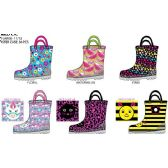 36 Units of TODDLER GIRLS PRINTED RAINBOOTS