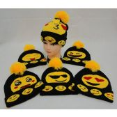 72 Units of Knitted Toboggan with PomPom [Emojis]--Larger Size