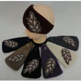 72 Units of Hand Knitted Ear Band [Jeweled Leaf]
